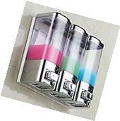 Chrome 3 Wall Mount Shower Bath Liquid Soap Shower Bathroom