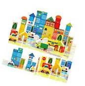 City Wooden Building Blocks Stacking Set Toys For Kids