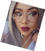 Classic Aviator Clear Lens Gold Metal Small Frame Eyeglasses
