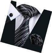 New Classic Mens Black White Striped Jacquard Woven 100%