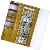 Clear 24 Pocket Over the Door Shoe Organizer Rack Hanging Storage Space Saver
