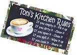 COFFEE   KITCHEN RULES SIGN/PLAQUE PERSONALIZED ANY NAME