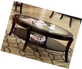 Coffee Table Glass Top Oval Shelf Contemporary Modern