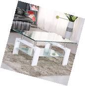 Coffee Table Glass Rectangular Shelf Chrome White Wood