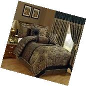 Comforter Set Luxury Bedding Queen Size 7 Piece Jacquard Print Floral Black Gold