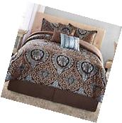 7 Pc Comforter Set Full/Queen Blue Brown Jacquard Floral