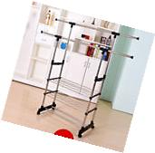 Commercial Garment Rolling Rack Double Rail Clothing Bar
