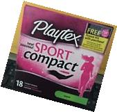 NEW PLAYTEX SPORT COMPACT TAMPONS 18ct SUPER *NWT