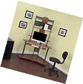 Small Computer Desk Corner Tower Hutch Wood Storage Shelves