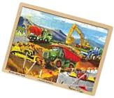 Melissa & Doug Construction Vehicles Wooden Jigsaw Puzzle With Storage Tray New