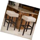 Chantal 30-Inch Beige Linen Fabric Bar Stools