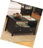 Contemporary Black Espresso Coffee Table Living Room