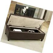 Contemporary Brown Leather Storage Ottoman w/ Portable Tray