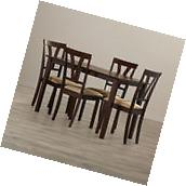 Contemporary 5 Piece Dining Set Wood Table And Chairs