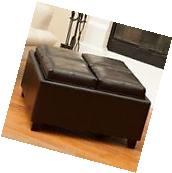 Contemporary Espresso Quad Tray Top Leather Storage Ottoman