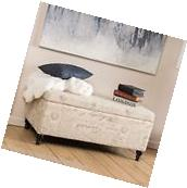 Contemporary Fabric Storage Ottoman Bench with French Script