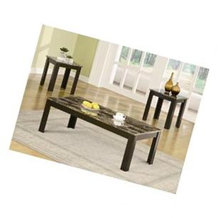 Coaster Contemporary Faux Marble Coffee & End Table 3 Piece