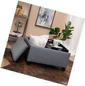 Contemporary Grey Leather Tray Top Storage Ottoman