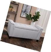 Contemporary Light Grey Tufted Fabric Armed Storage Ottoman