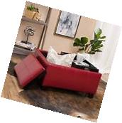 Contemporary Red Leather Tray Top Storage Ottoman