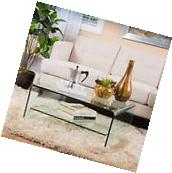 Contemporary Square Glass Coffee Table with Shelf