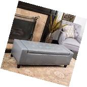 Contemporary Studded Grey Leather Storage Ottoman Bench