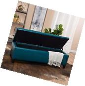 Contemporary Teal Leather Storage Ottoman Bench