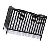 Convertible Baby Bed 5-in-1 Full Size Crib Black Nursery