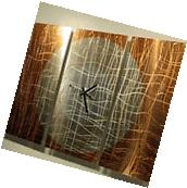 Large Copper 3 Panel Wall Clock - Modern Contemporary Metal