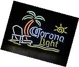 "New Corona Light PALM Tree Chair Sun Beer Neon Sign 20""x16"""