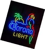 "Corona Light Parrot With Palm Tree Beer Neon Sign 20""x16"""