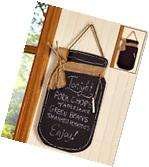 Country Kitchen Decor Wall Mason Jar Chalkboard Sign Large