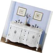 58-inch Creamy Marble Stone Top Bathroom Vanity Double Sink