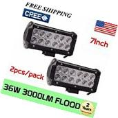 2PCS 7INCH 36W LED WORK LIGHT BAR FLOOD for OFFROAD 4WD BOAT