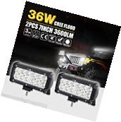 2x 7INCH 36W FLOOD CREE LED WORK LIGHT BAR OFFROAD ATV FOG