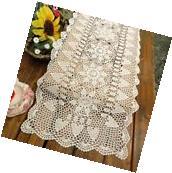 Crochet Table Runner White Vintage Hand Crocheted Lace