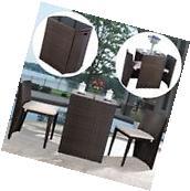3 PCS Cushioned Outdoor Wicker Patio Set Garden Lawn Sofa