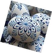 """Czech traditional Easter Eggs """"Kraslice"""" -white with blue"""