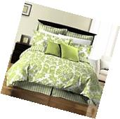 8pcs Damask Stripe Printed Reversible Bed in a Bag Comforter
