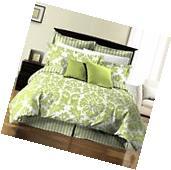8pcs Damask Stripe Printed Reversible Bed in a Bag Comforter