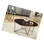 3-Piece Dark Brown Metal Wood Living Room Coffee Table and