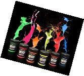 Set of 6 Glow in The Dark Neon Fluorescent Paint Bottles,