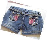 Denim Jean Rhinestone Heart Shorts - fits American girl -