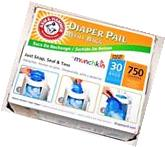 Arm & Hammer Diaper Pail Refill Bags 30 Count For Munchkin