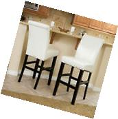 Set of 2 Dining Room Ivory Leather Bar Stools w/ Nailhead
