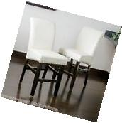 Set of 2 Dining Room Ivory Leather Counter Stools w/ Chrome