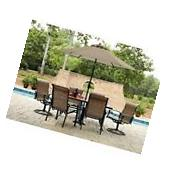 Outdoor Dining Set 7 Pc Deck Patio Furniture Glass Table