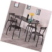 5 Piece Dining Set Table And 4 Chairs Glass Top Kitchen