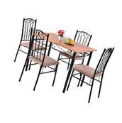 5 Piece Dining Set Wood Metal Table and 4 Chairs Kitchen