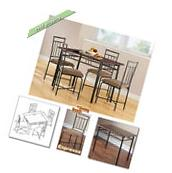 Dining Table Set for 4 Chairs Tables Metal Wood Room Kitchen
